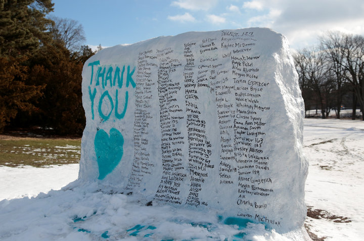 "A boulder on the campus of Michigan State University ""The Rock"" is painted with the names of assault victims of Larry Nassar, a former team USA Gymnastics doctor who pleaded guilty in November 2017 to sexual assault, in East Lansing, Michigan,"