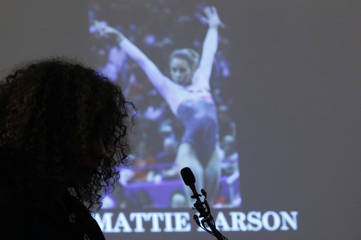 Victim Mattie Larson speaks at the sentencing hearing for Larry Nassar, a former team USA Gymnastics doctor who pleaded guilty in November 2017 to sexual assault charges, in Lansing, Michigan